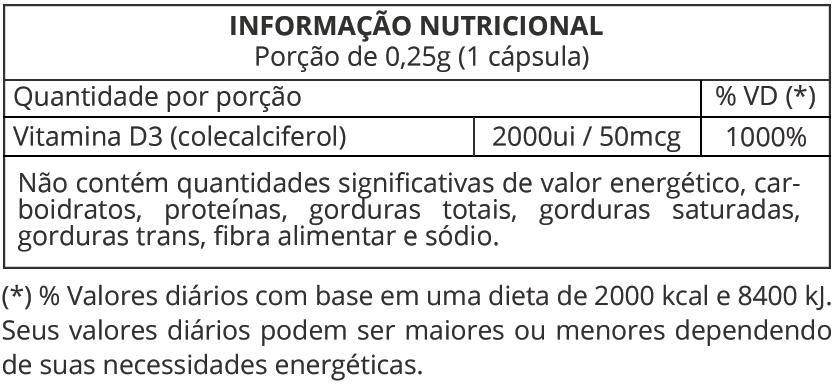 Informação Nutricional Vitamina D3